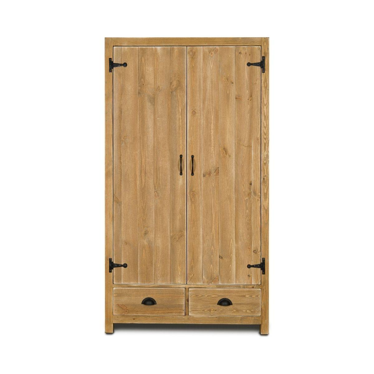 Armoire 2 portes 2 tiroirs pin massif bois vieilli