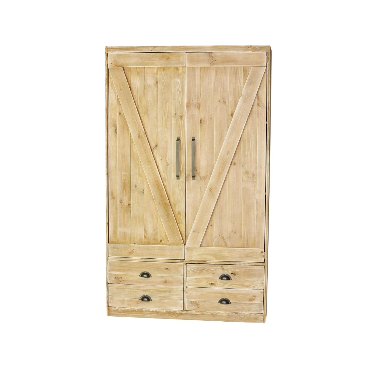 Armoire 2 portes 4 tiroirs pin massif bois vieilli