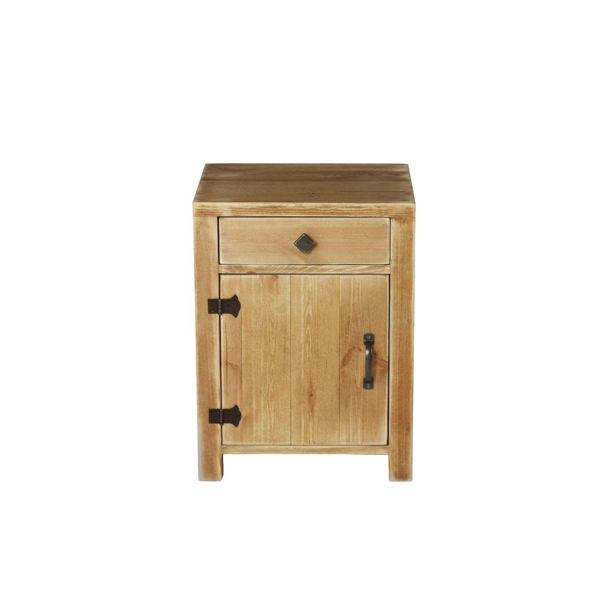 Table de chevet COLETTE 1 tiroir 1 porte bois massif