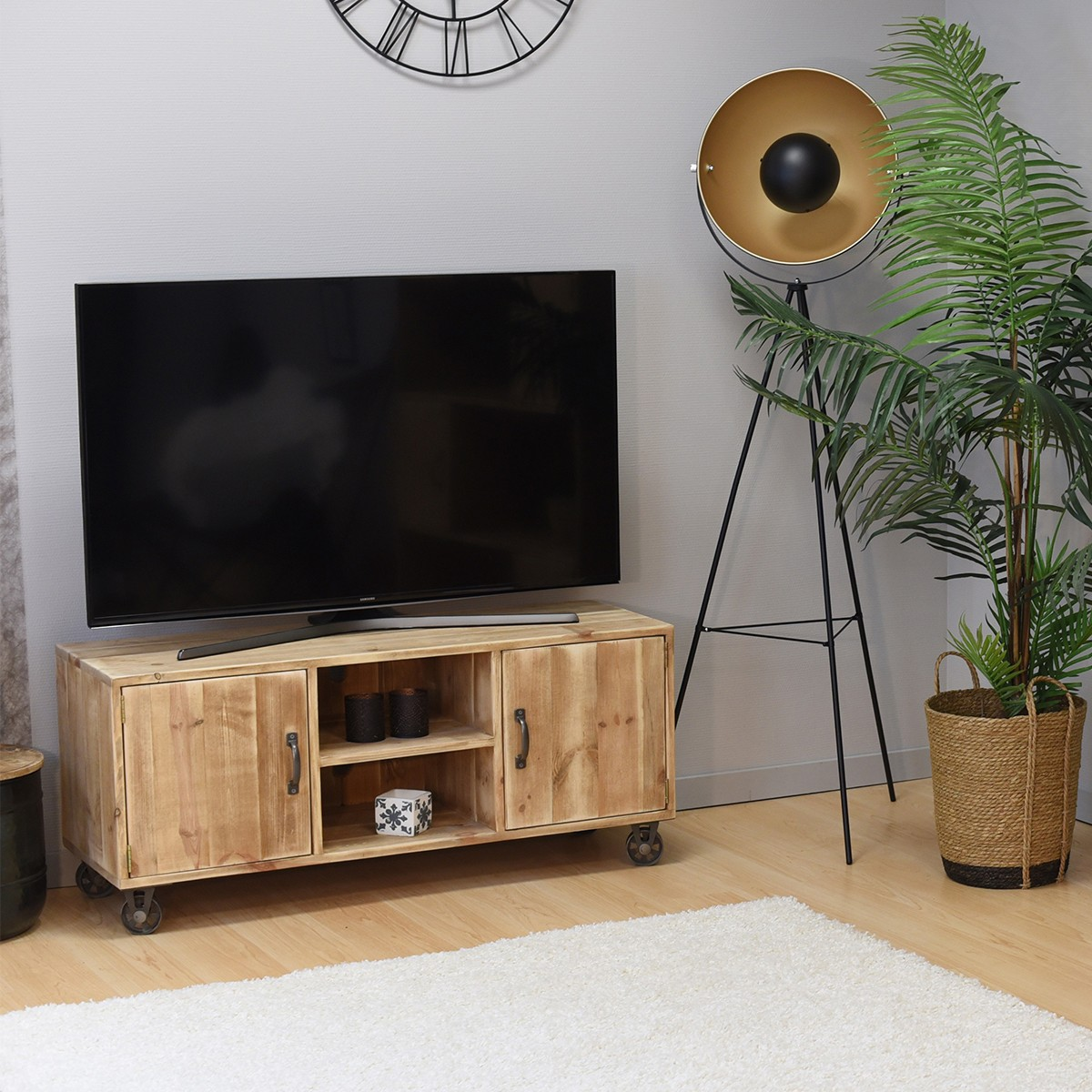 Meuble TV à roulettes pin massif bois vieilli
