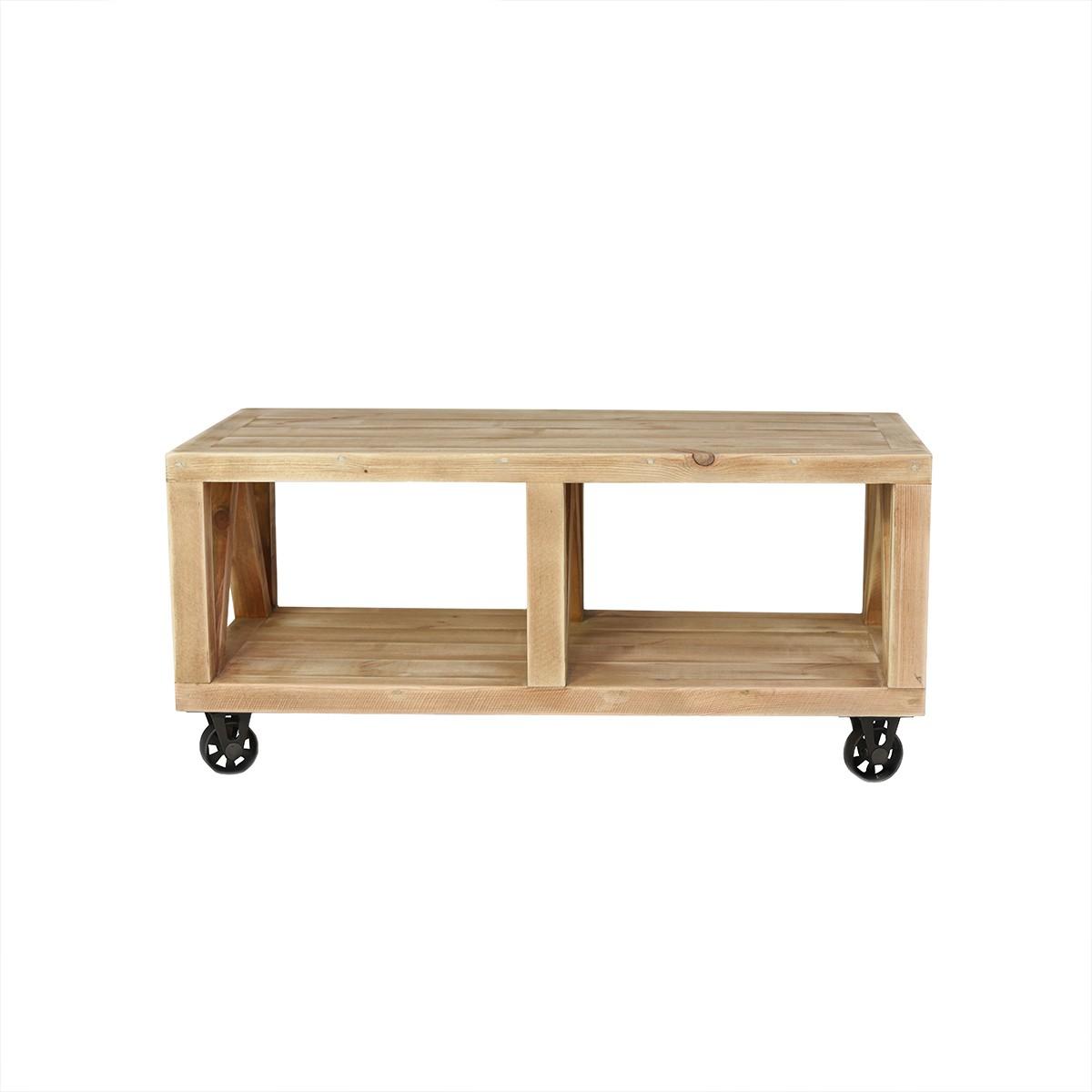Table basse à roulettes pin massif bois vieilli