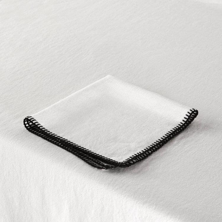 Nappe rectangulaire 140x250 cm Blanc et feston noir en Lin