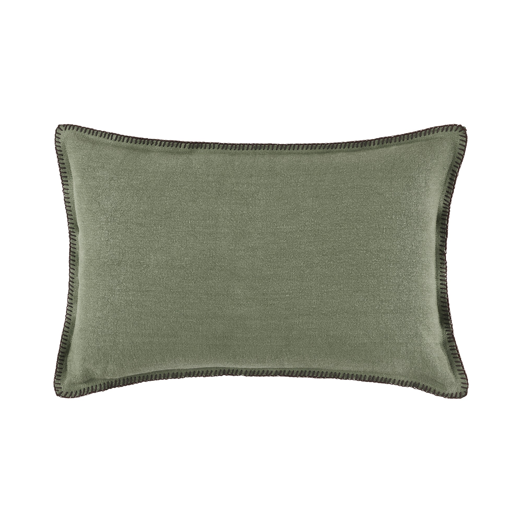 Housse de coussin 40x60 cm Kaki grisé et feston noir en Lin