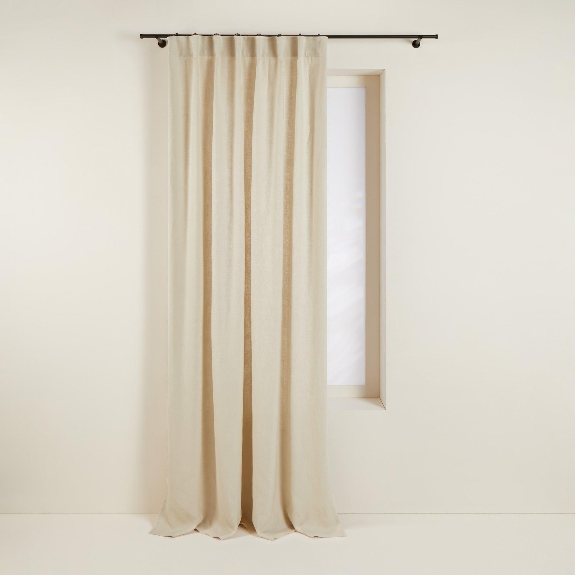 Rideau à ruban fronceur 145x275 cm Beige doré en Lin