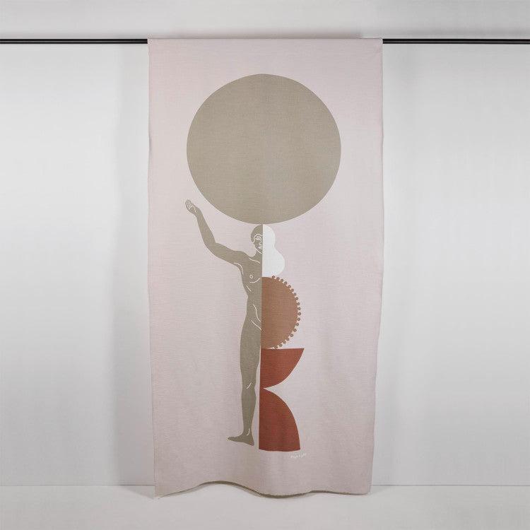 Rideau à coulisse 135x250 cm Naturel et beige