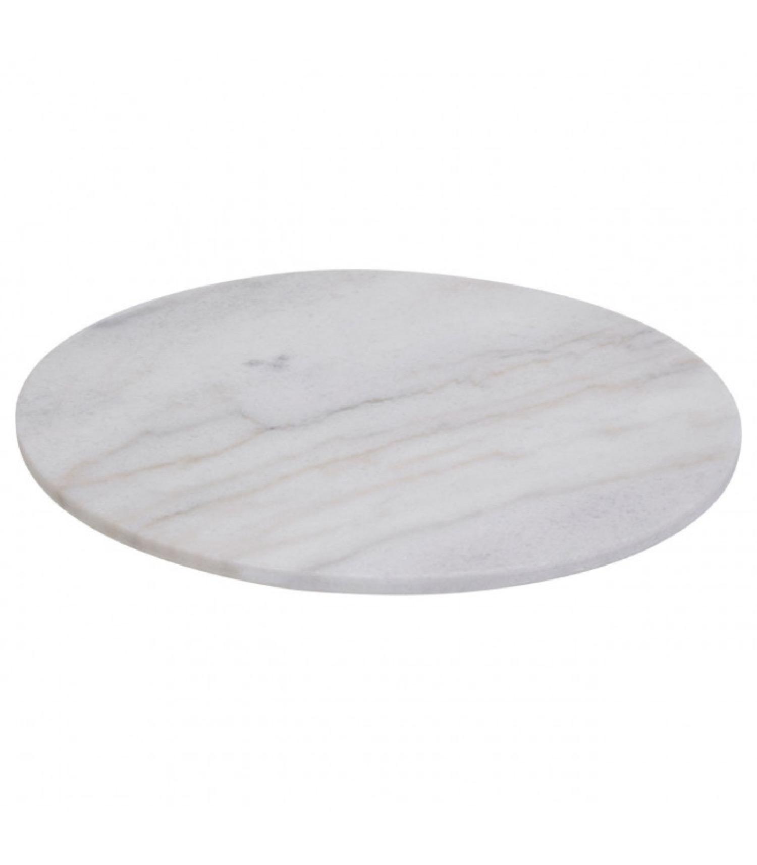 Plat de présentation rond rotatif en marbre blanc