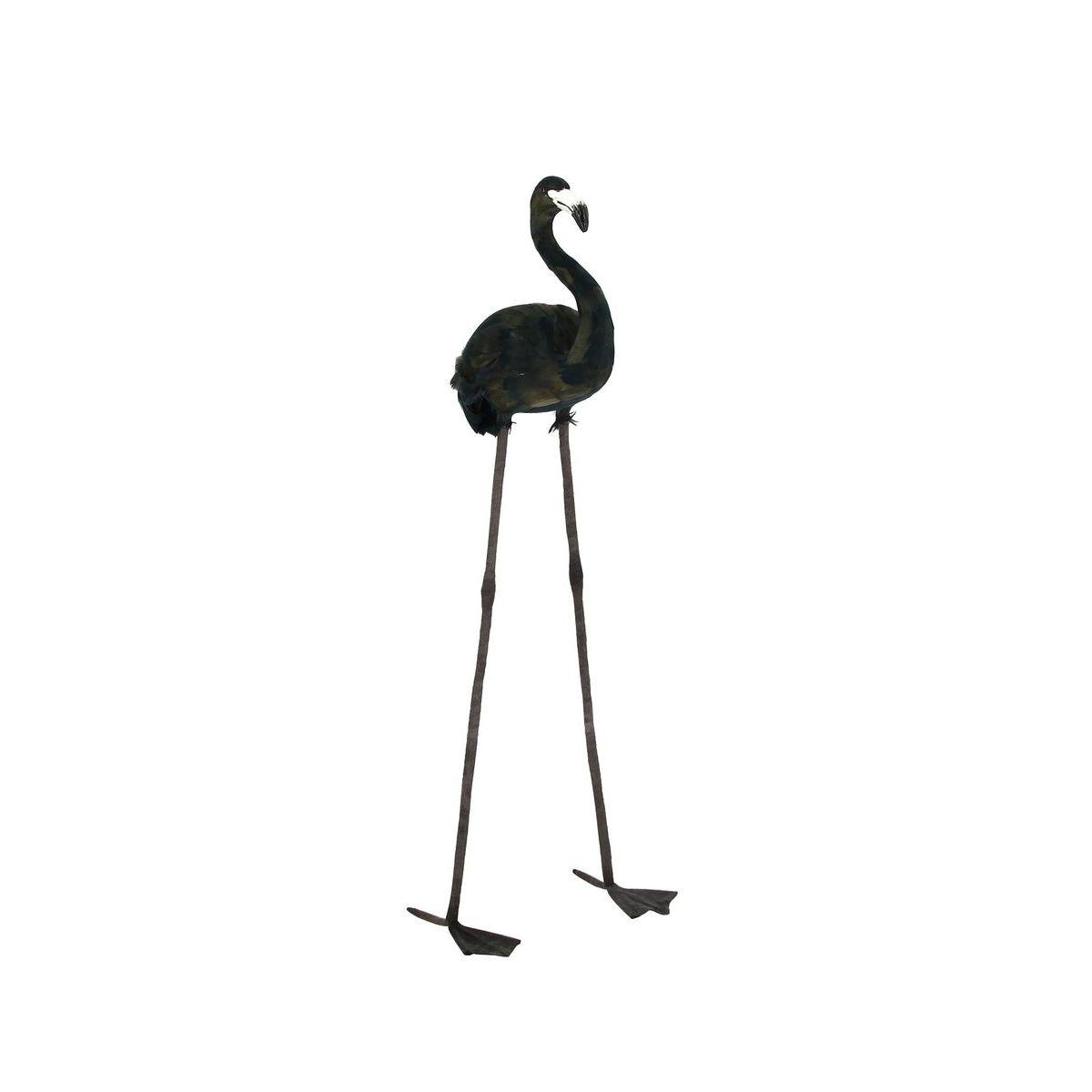 Flamant en plumes d'oie noires H105cm