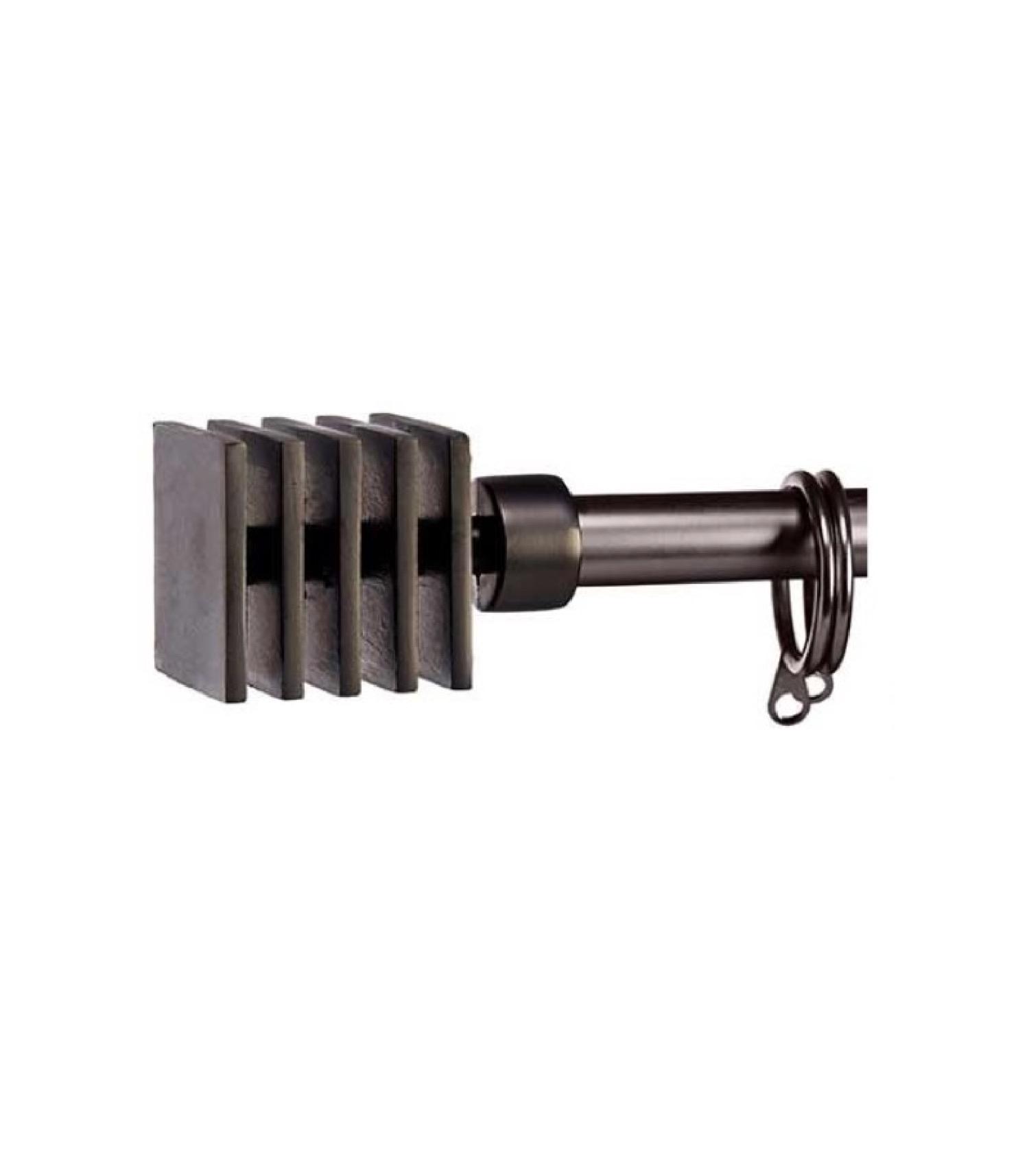 Tringle à rideaux extensible métal noir carré 120 à 210cm