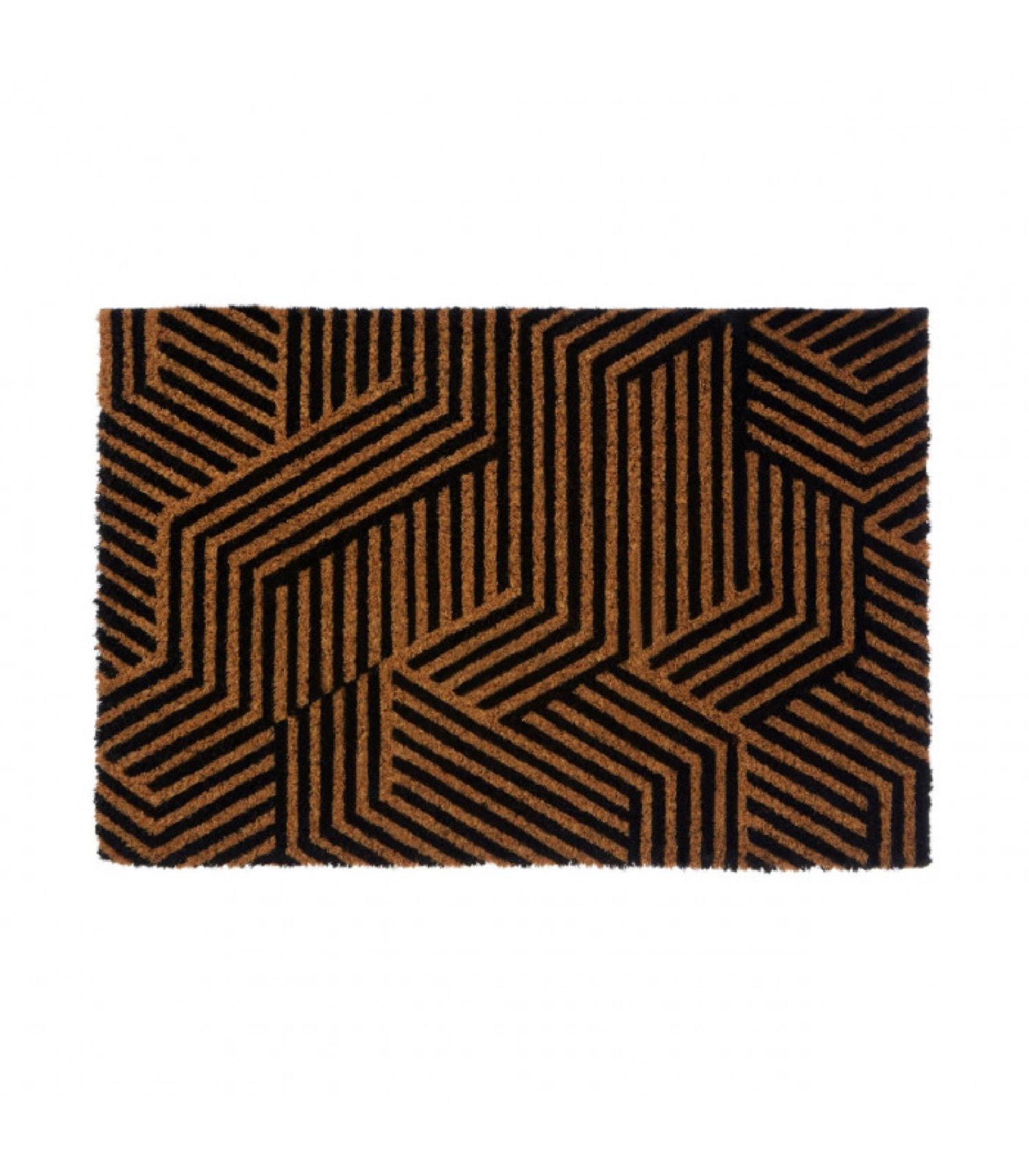 Paillasson coco motifs géométriques noirs 60x40cm