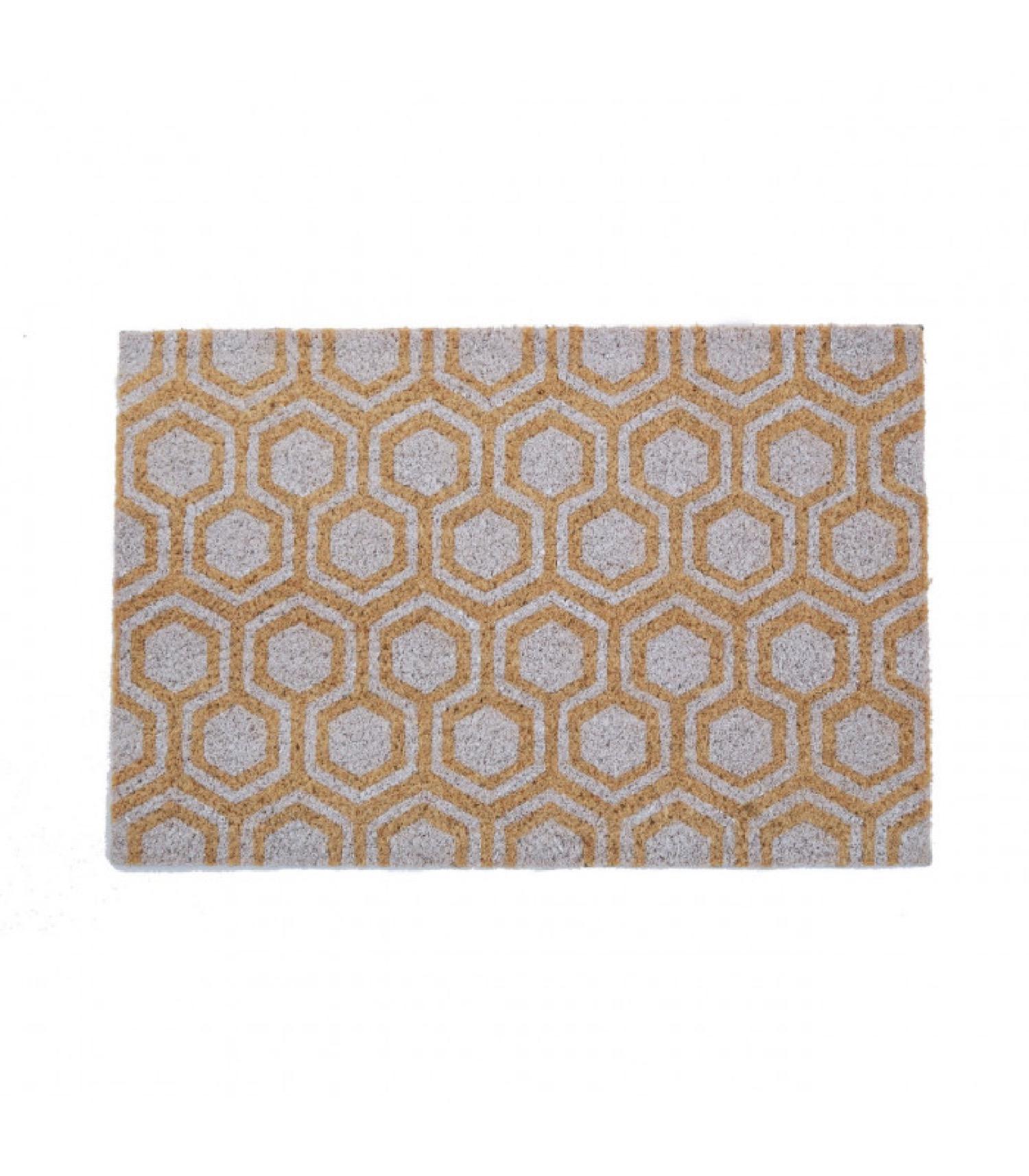 Paillasson coco motifs géométriques blancs 60x40cm