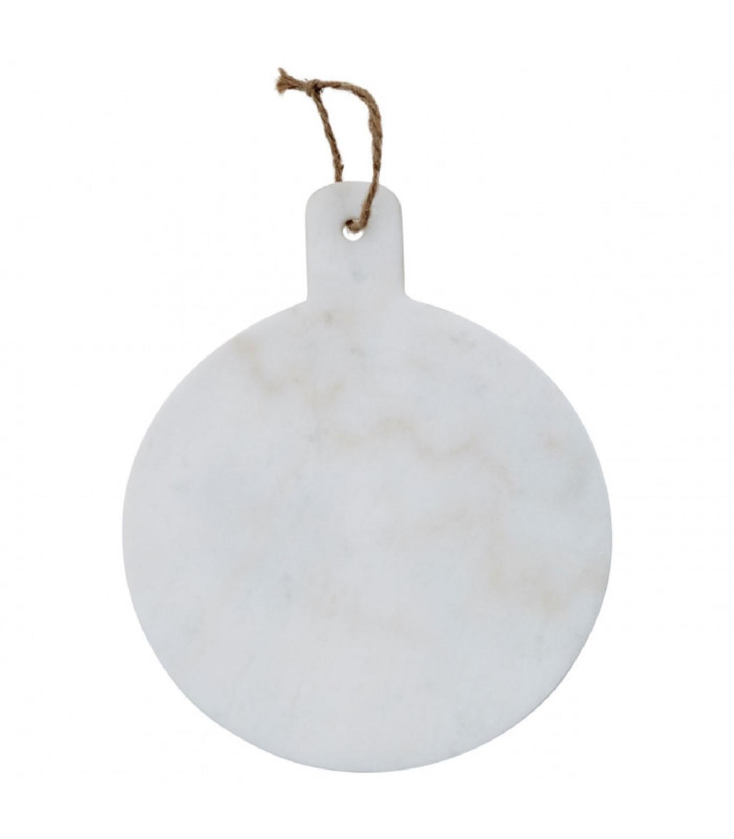 Planche à découper ronde en marbre blanc D25cm