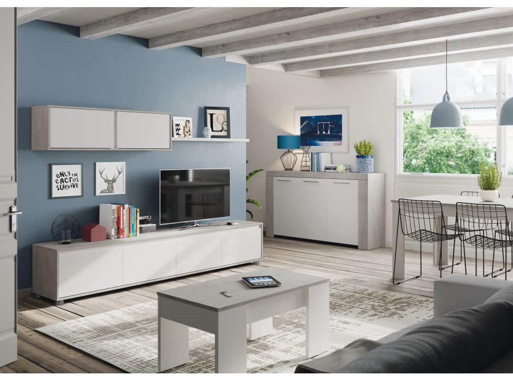 Meuble TV blanc/béton 4 portes avec étagère murale L200cm