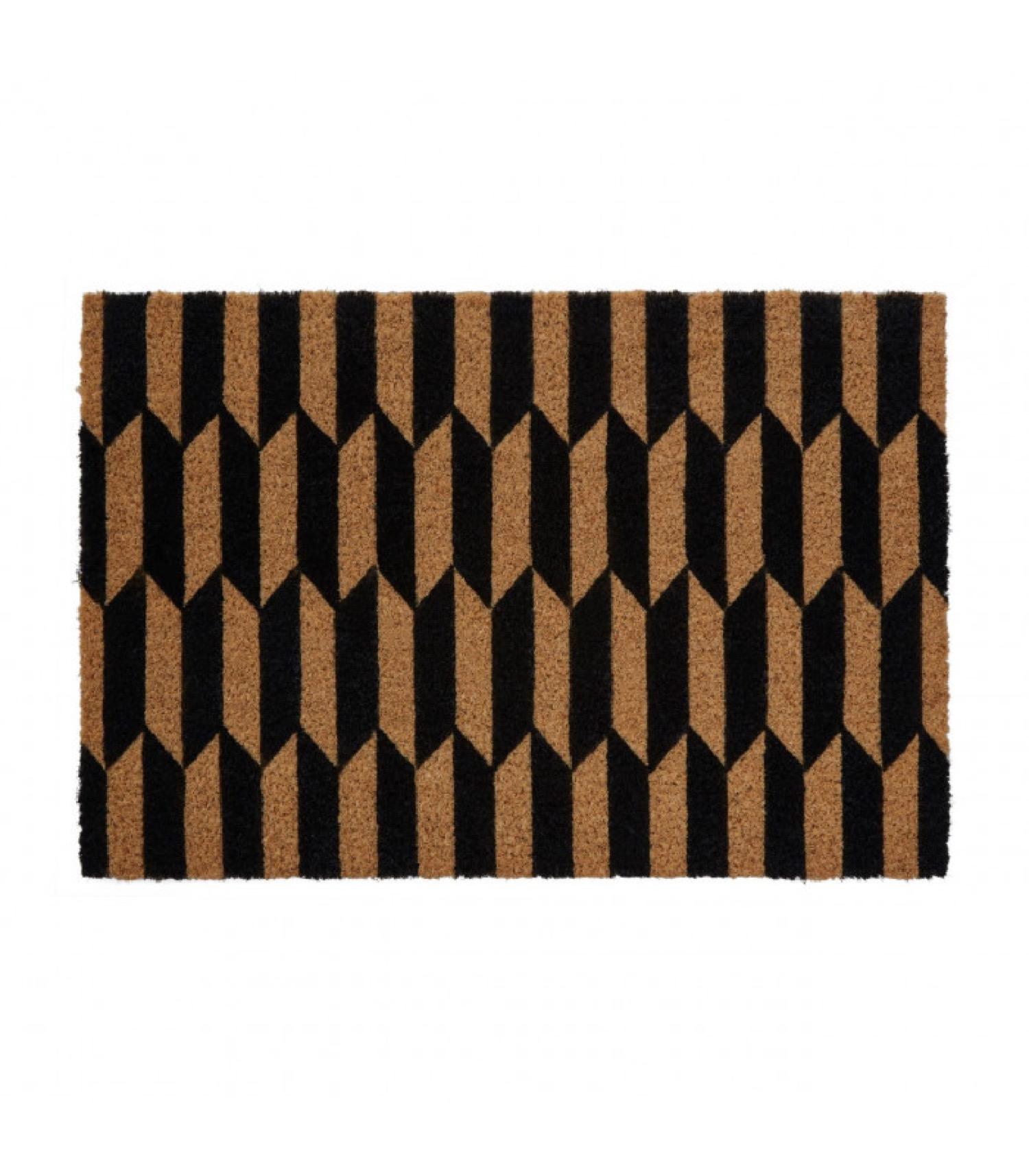 Paillasson coco motifs géométriques noirs arrow 60x40cm