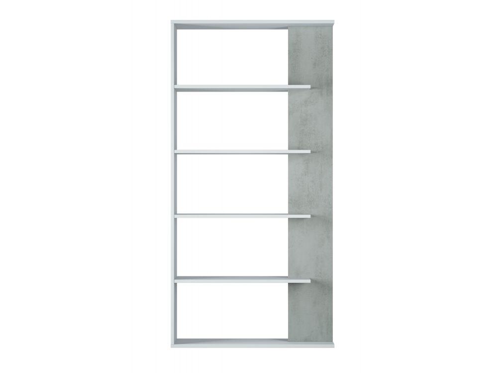 Bibliothèque blanc/béton 4 tablettes L90 x H180cm