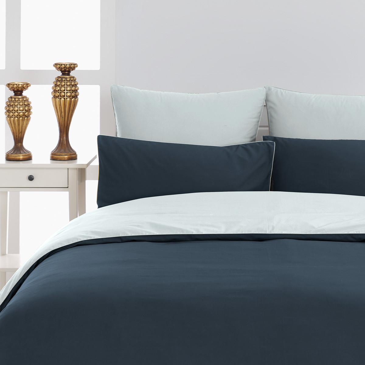 Housse de couette bicolore percale Rose Poudre/Blanc 240x220 cm
