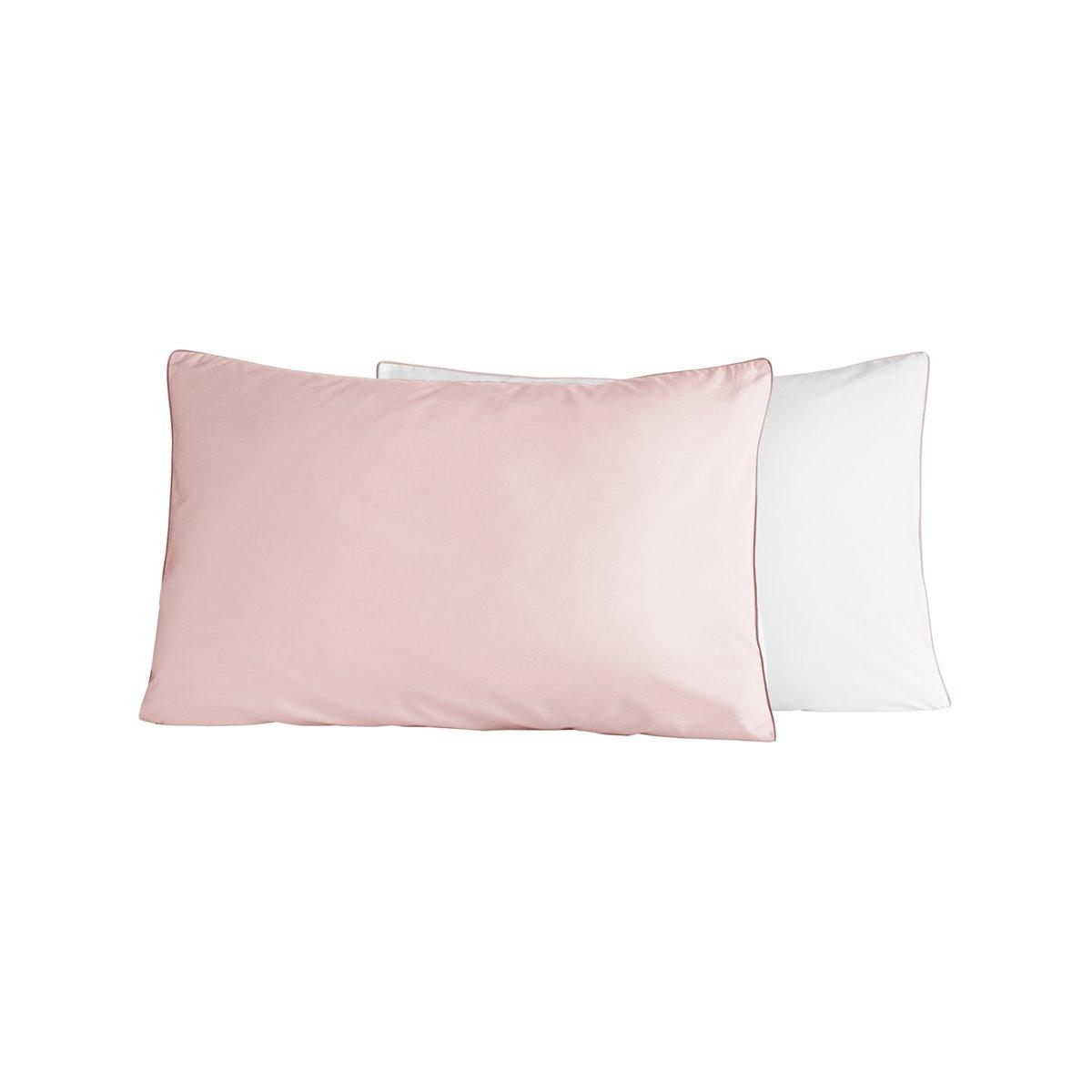 Lot de 2 taies d'oreiller bicolores Rose Poudre/Blanc 50x70 cm