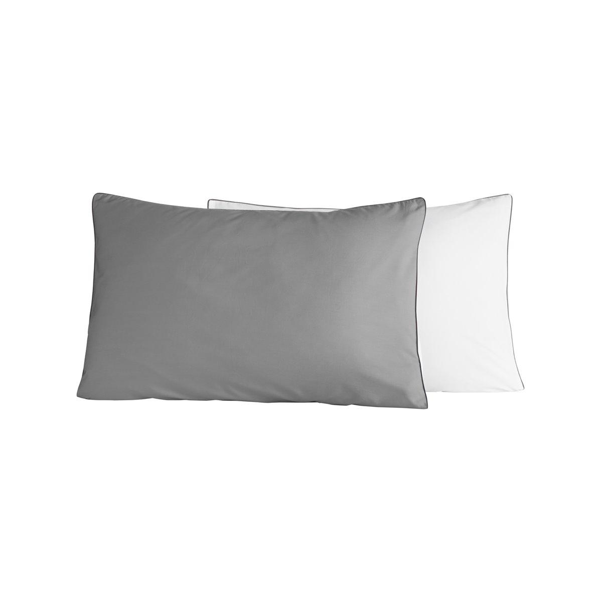 Lot de 2 taies d'oreiller bicolores Gris Perle/Blanc 50x70 cm