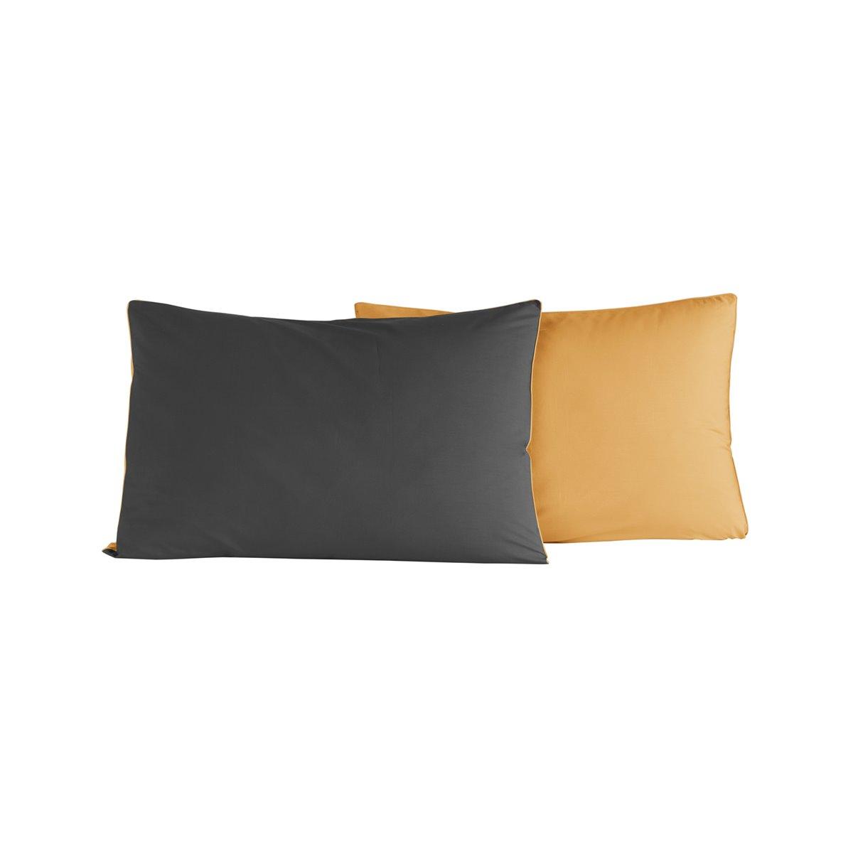 Lot de 2 taies d'oreiller bicolores Anthracite/Safran 50x70 cm