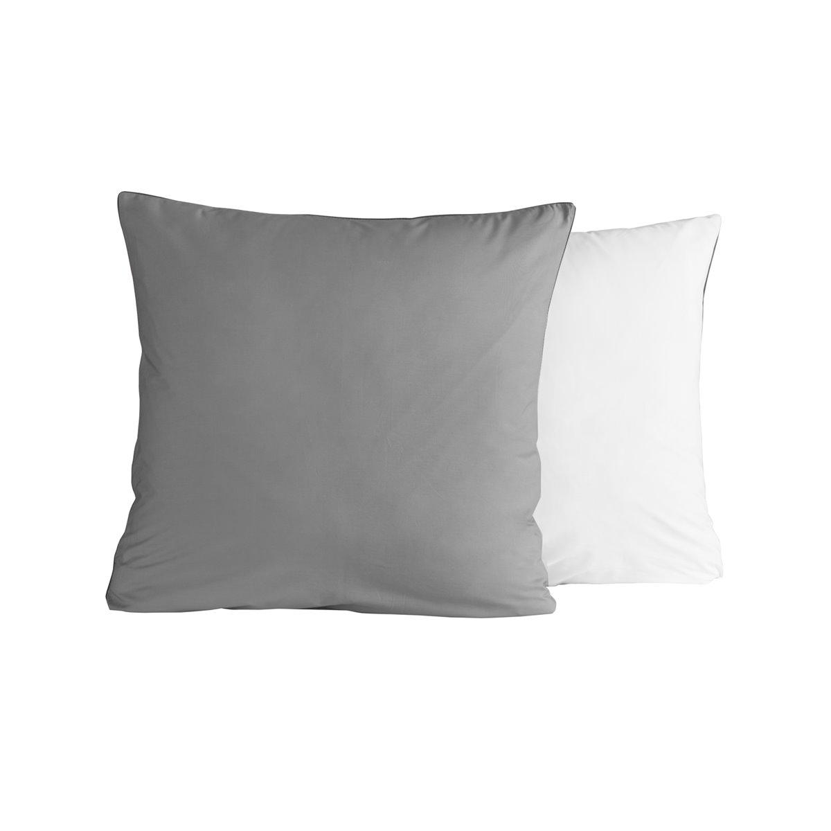 Lot de 2 taies d'oreiller bicolores Gris Perle/Blanc 65x65 cm