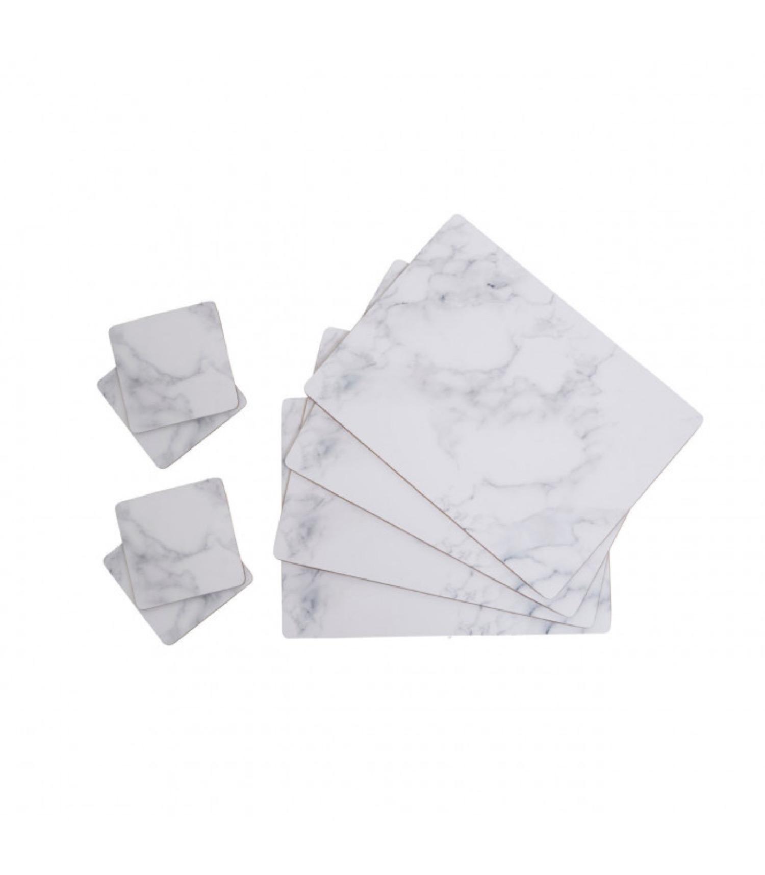 4 sets de table effet marbre blanc + 4 dessous de verre assortis