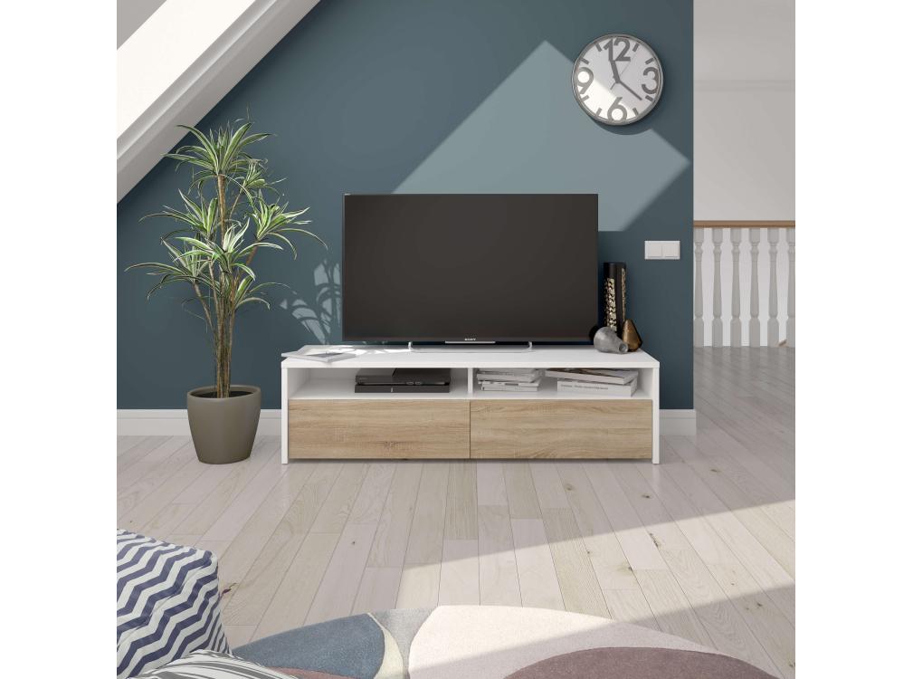 Meuble TV blanc/bois 2 portes et 2 niches de rangement L130 cm