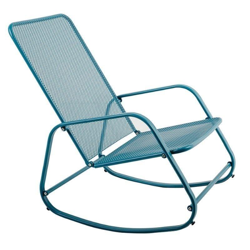 Rocking chair extérieur en acier Bleu