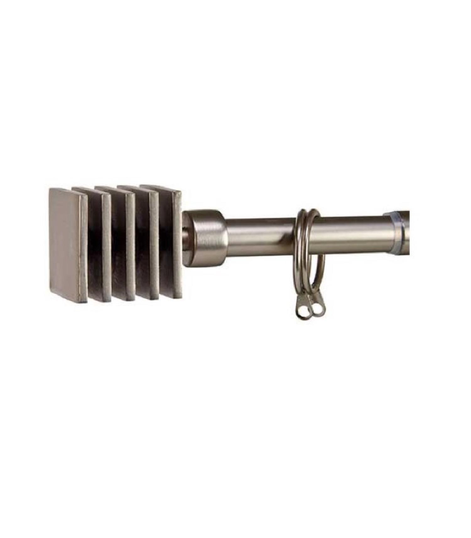 Tringle à rideaux extensible métal chromé carré 120 à 210cm