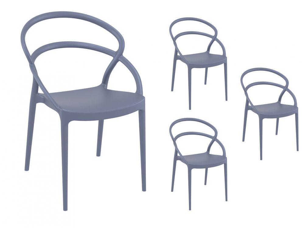 Lot de 4 chaises grises intérieur/extérieur