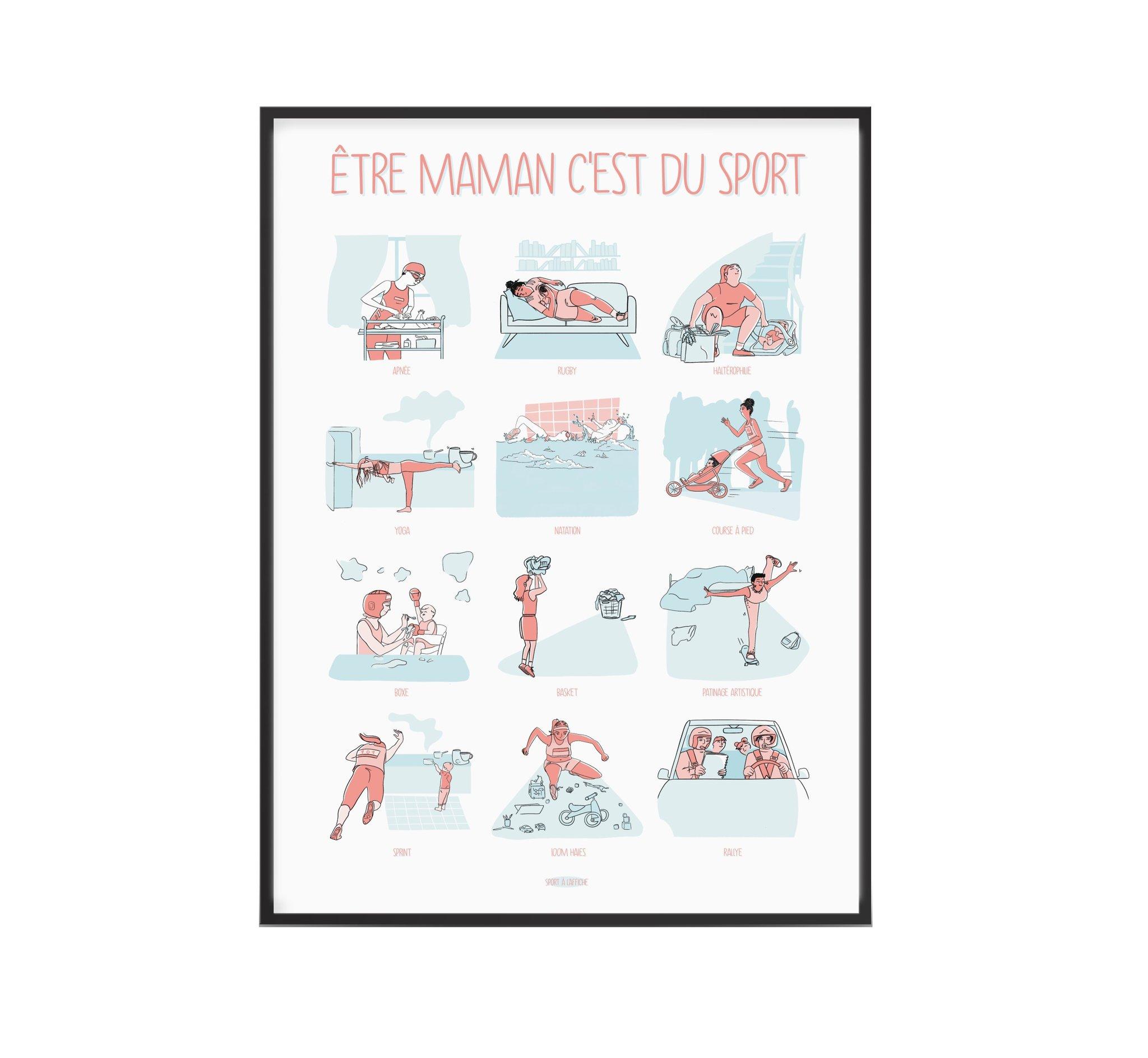 Affiche super maman être maman c'est du sport 40x60 cm