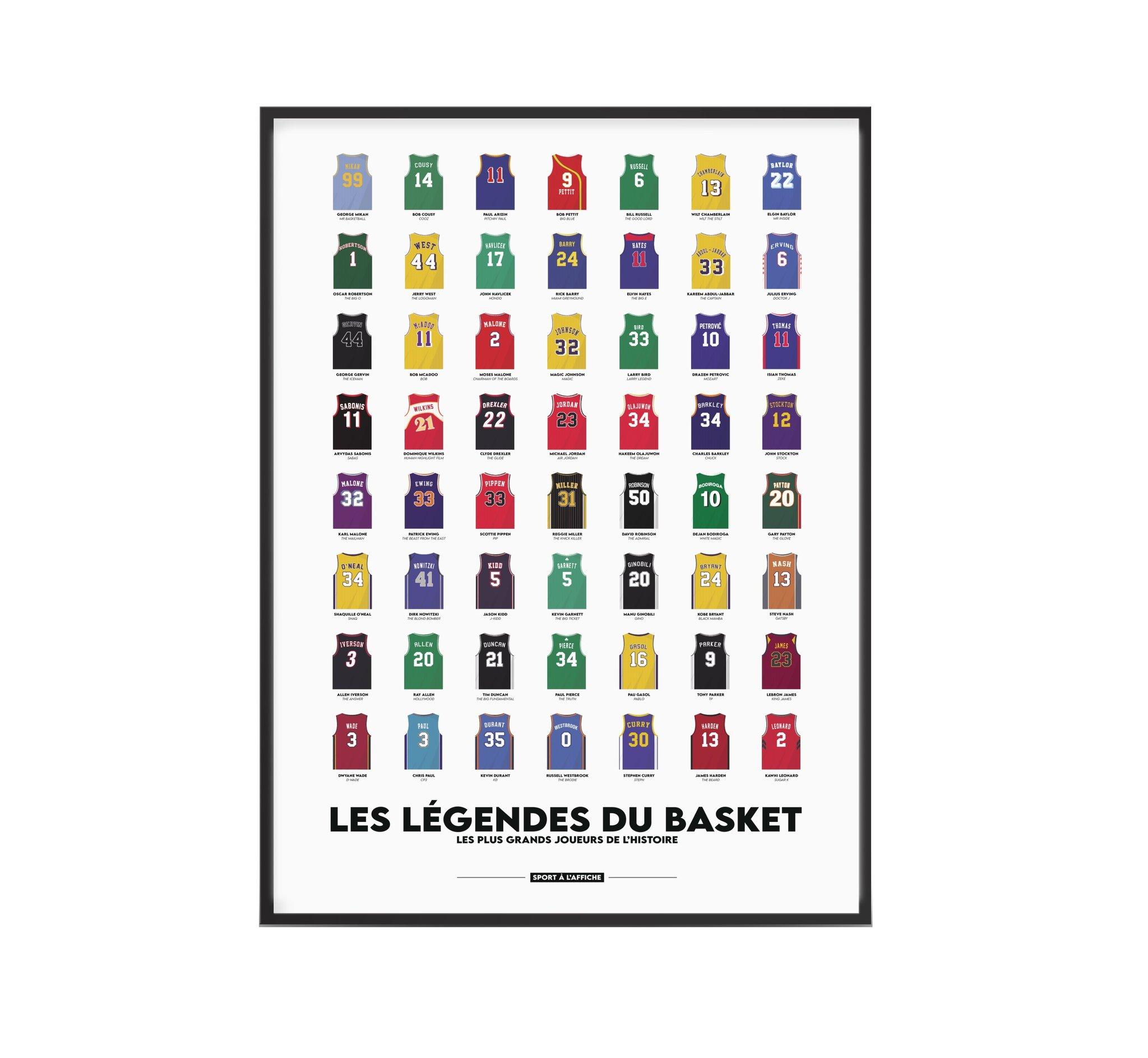 Affiche basket les légendes du basket 40x60 cm