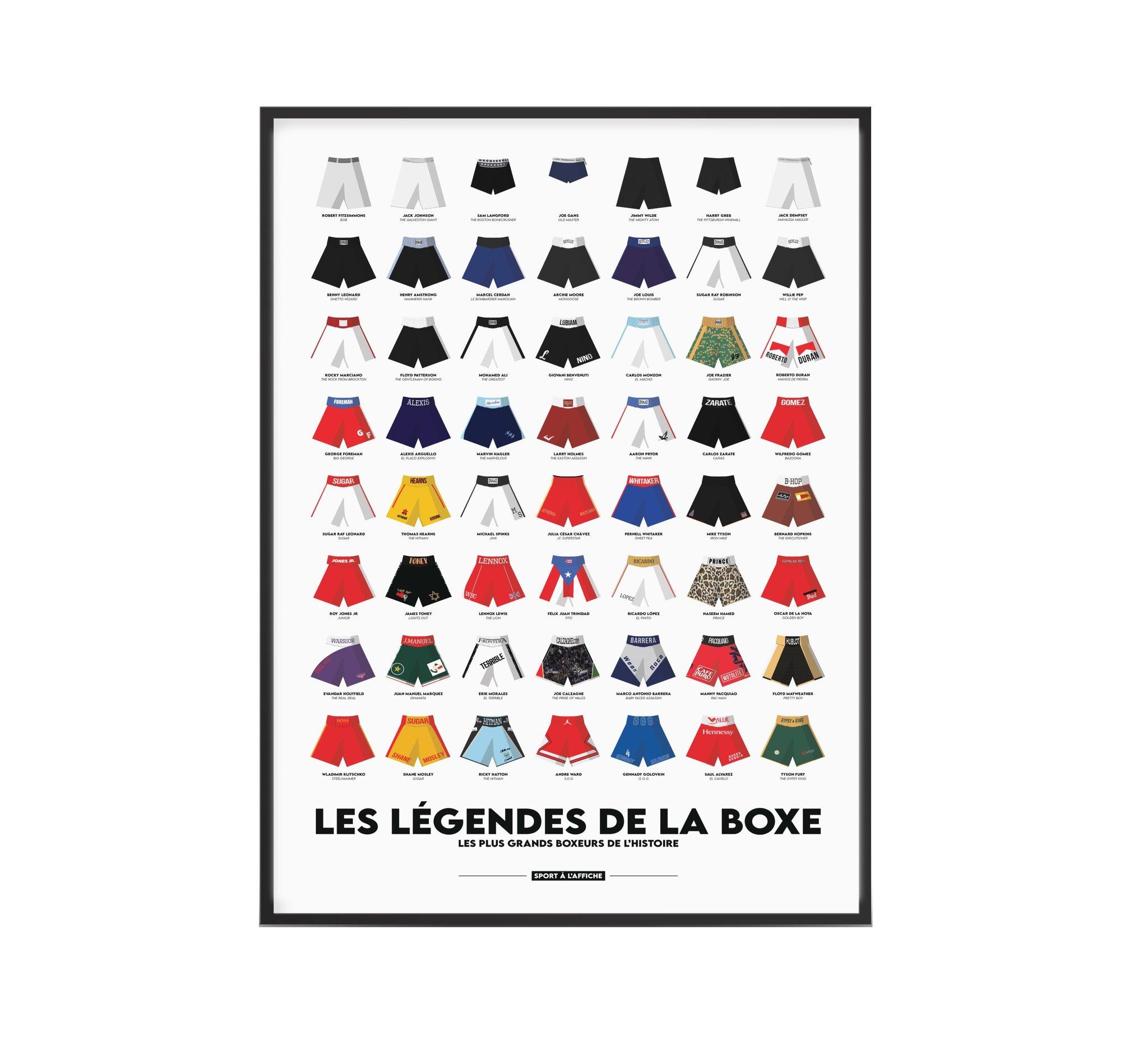 Affiche boxe les légendes de la boxe 40x60 cm