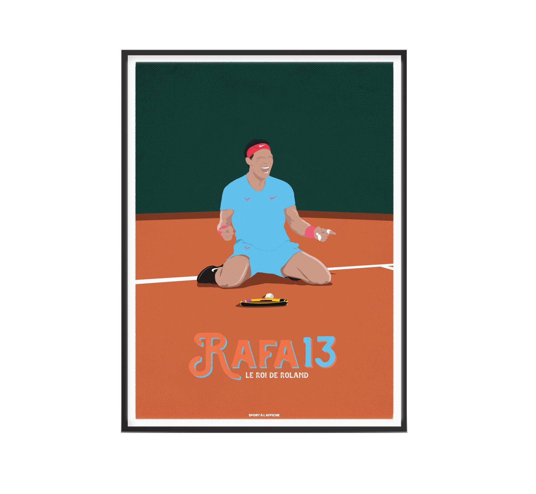 Affiche tennis Rafa roi de la Terre 30x40 cm