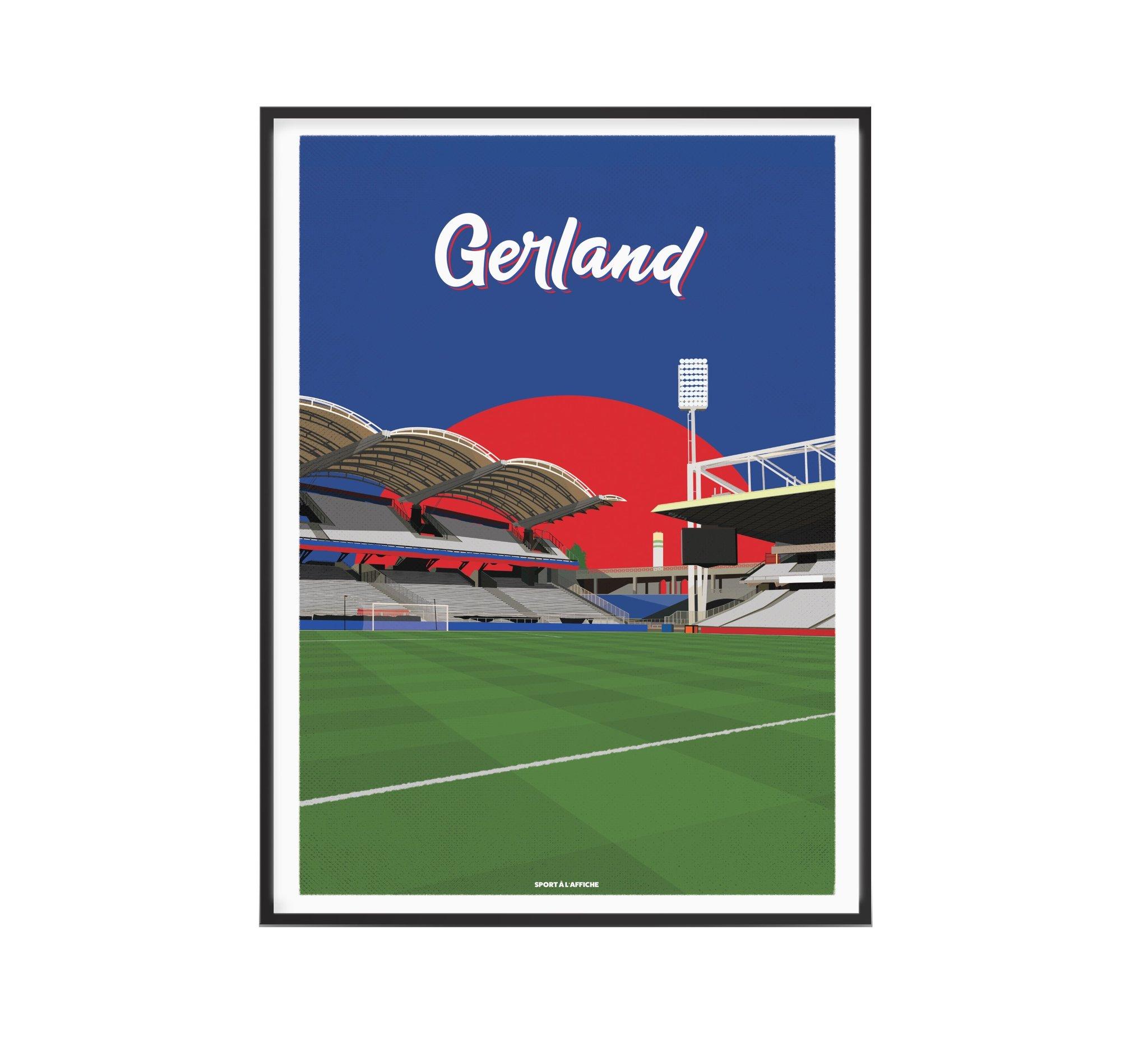 Affiche stade Gerland Lyon 30x40 cm