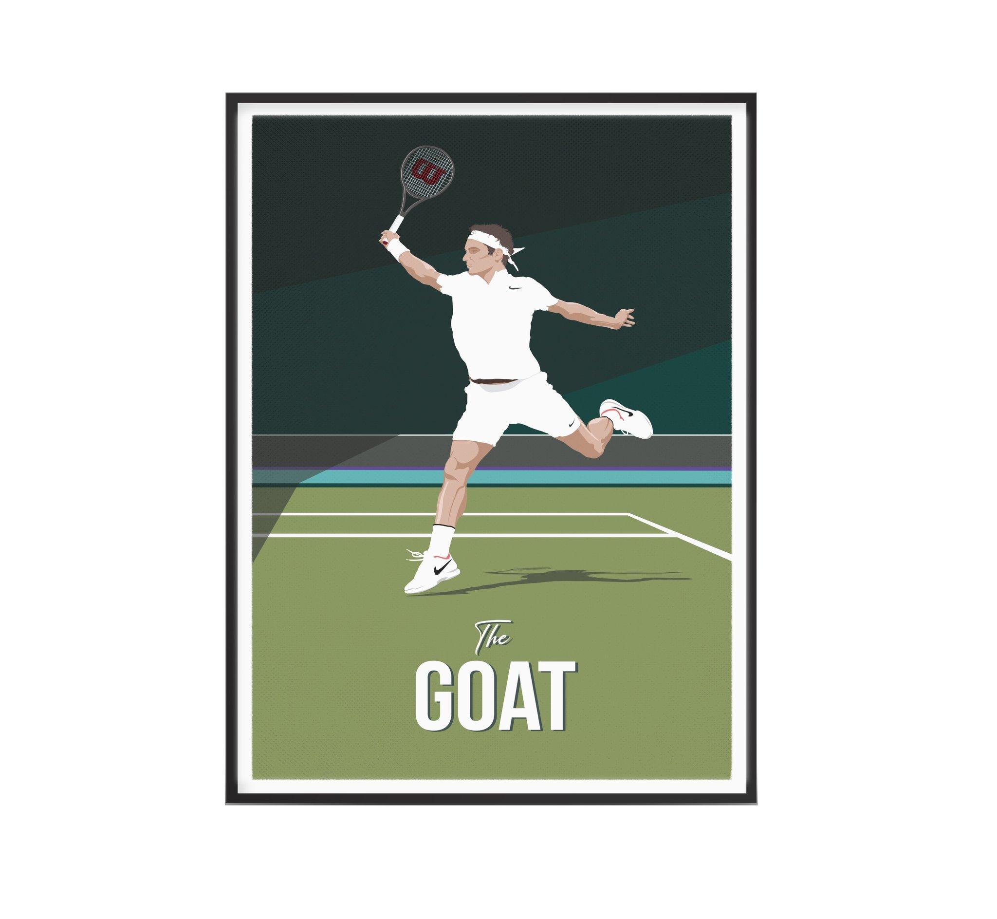 Affiche tennis Roger The Goat 30x40 cm