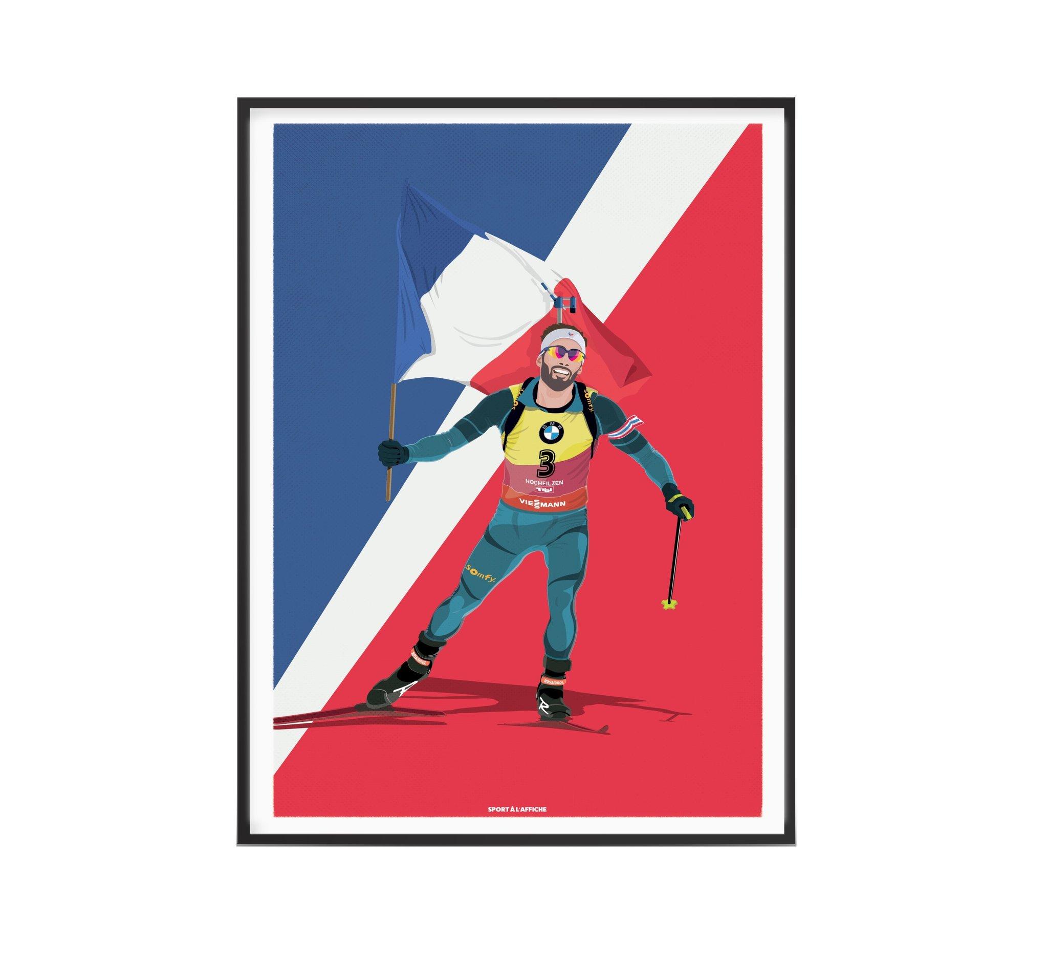 Affiche biathlon Martin porte drapeau 30x40 cm