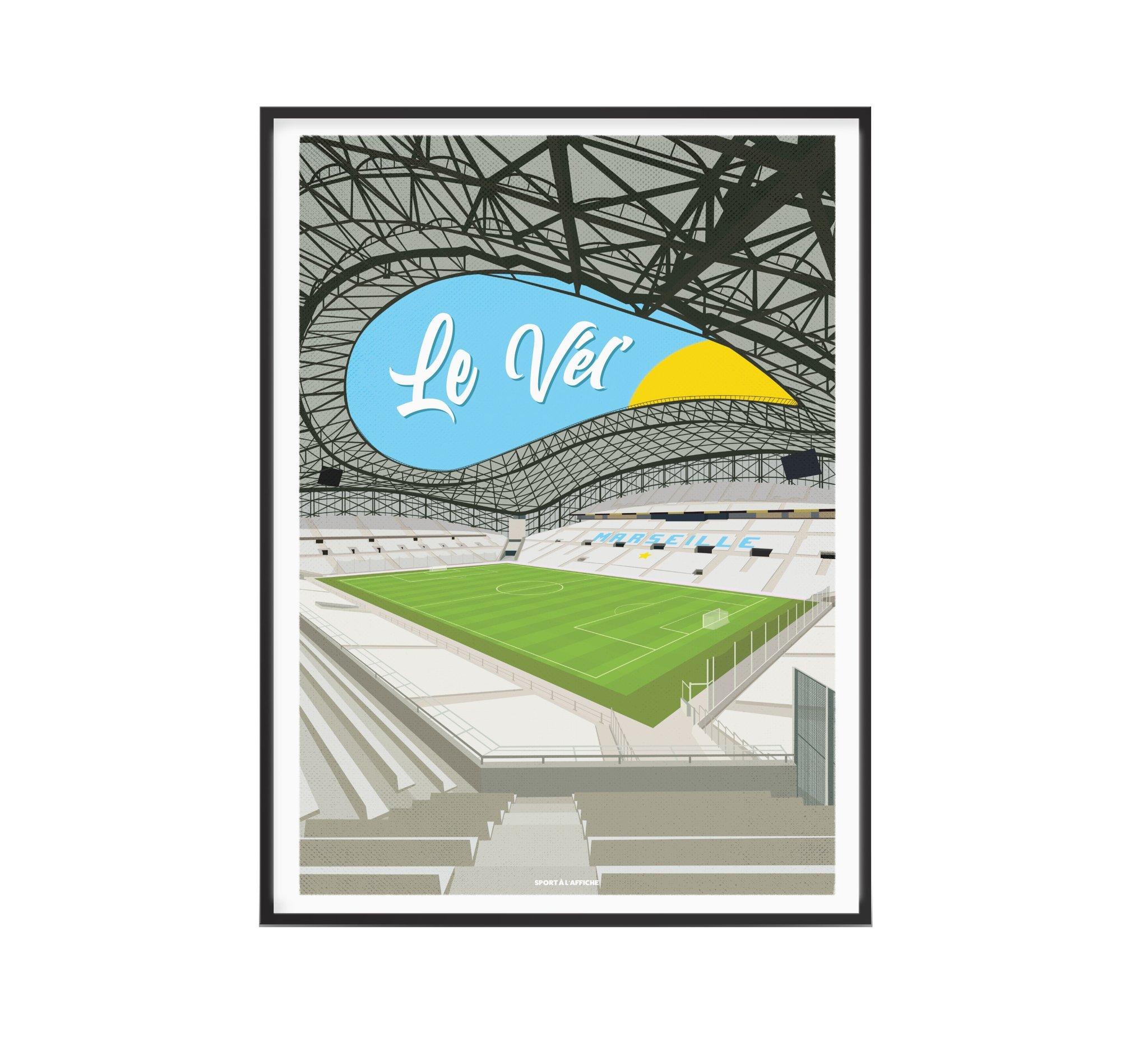 Affiche stade Vélodrome Marseille 30x40 cm