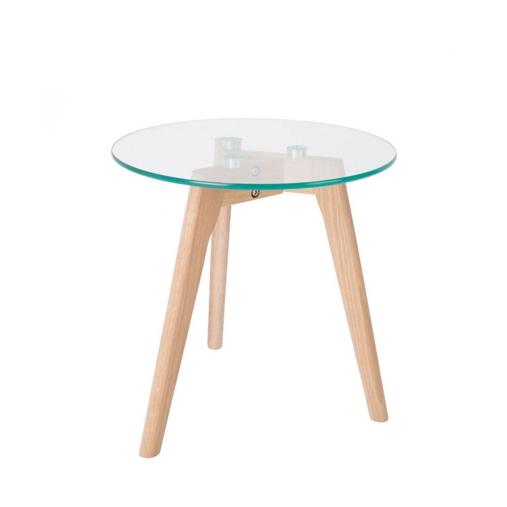 2 tables basses scandinaves verre et chêne