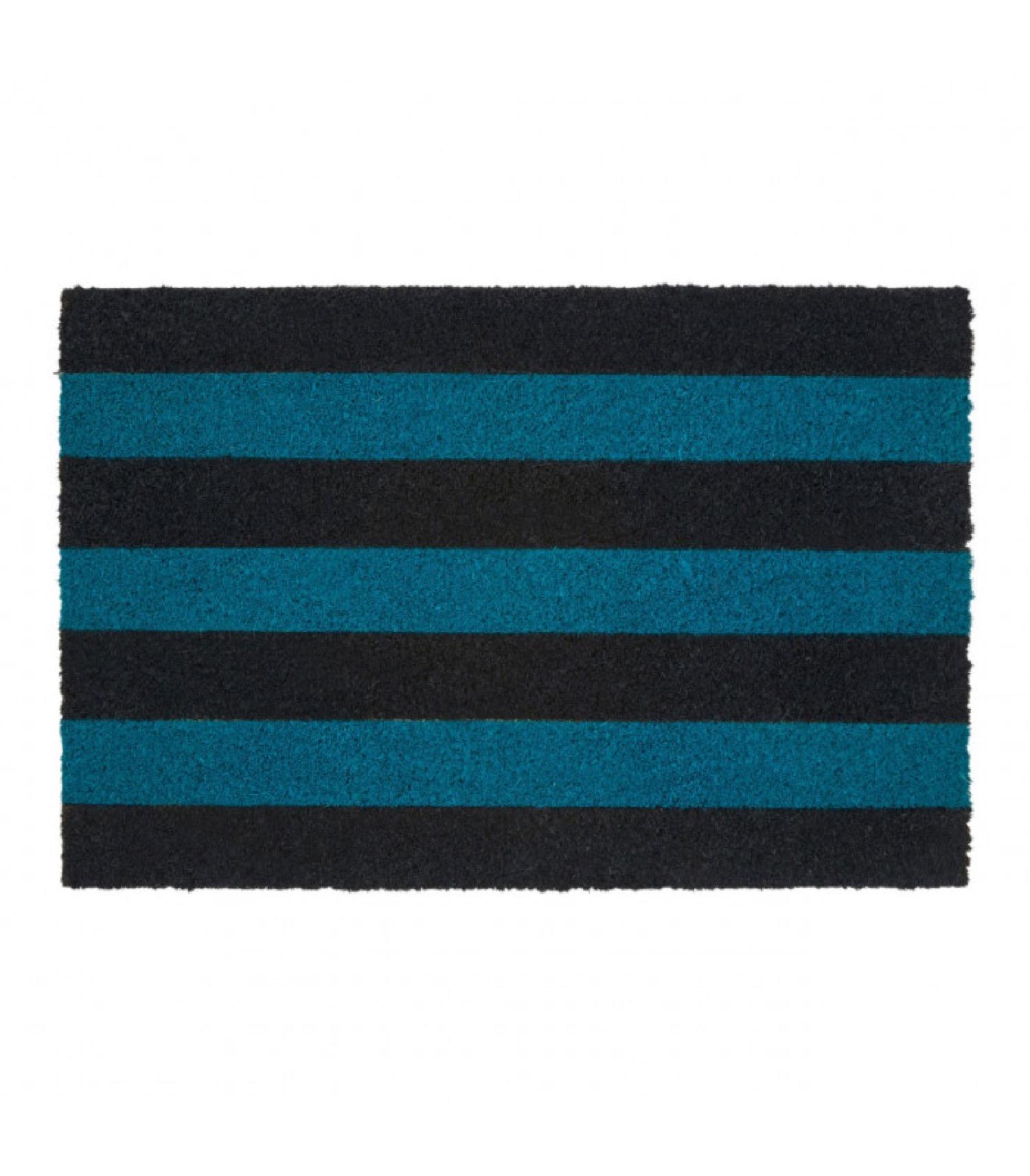 Paillasson coco rayé bleu 60x40cm
