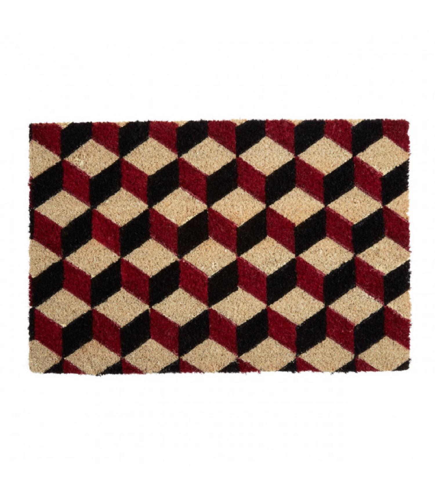Paillasson coco motifs géométriques cubes 60x40cm