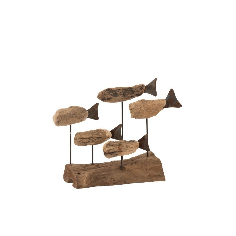 Poissons sur pied bois flotté/métal naturel H22cm