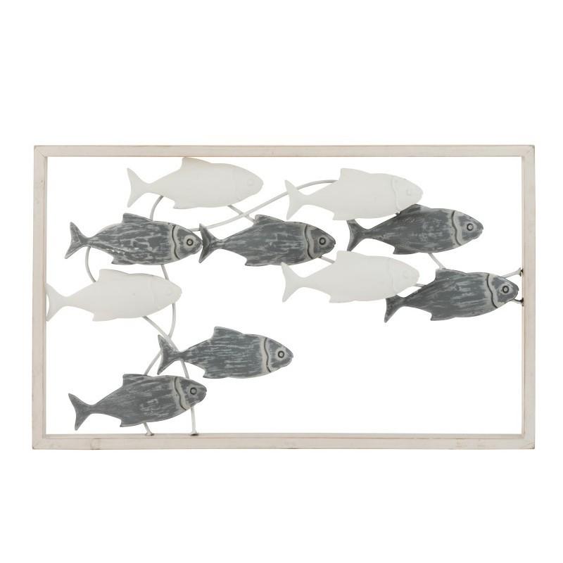Décoration murale poisson nage métal/bois blanc/gris 50x30cm
