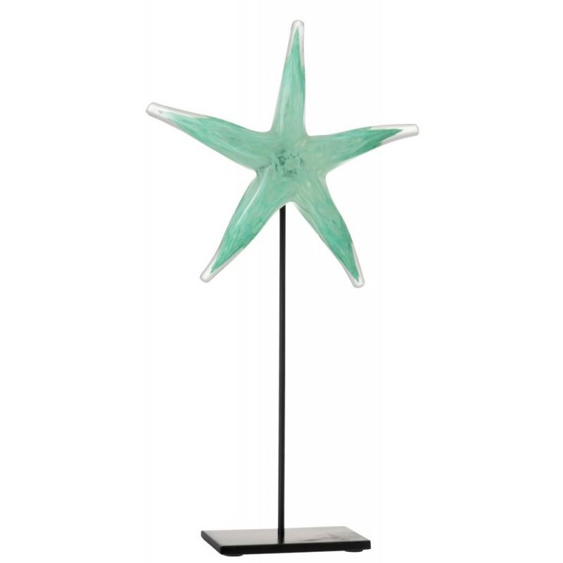 Étoile de mer verre et métal azur et noir H42cm