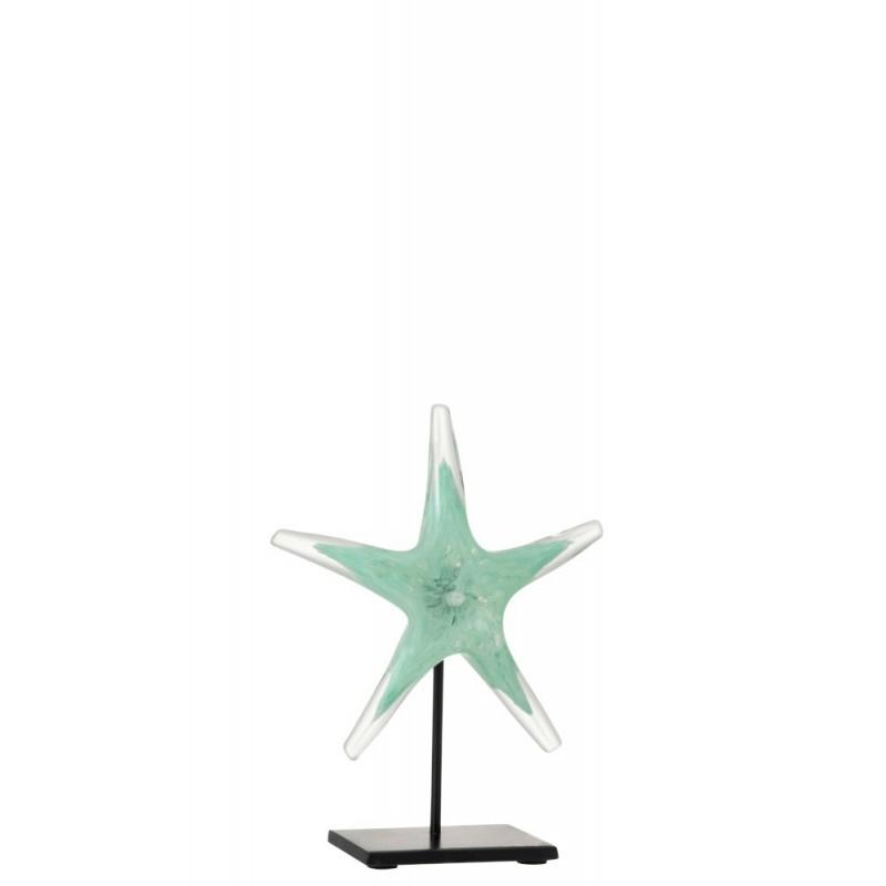 Étoile de mer verre et métal azur et noir H24,5cm