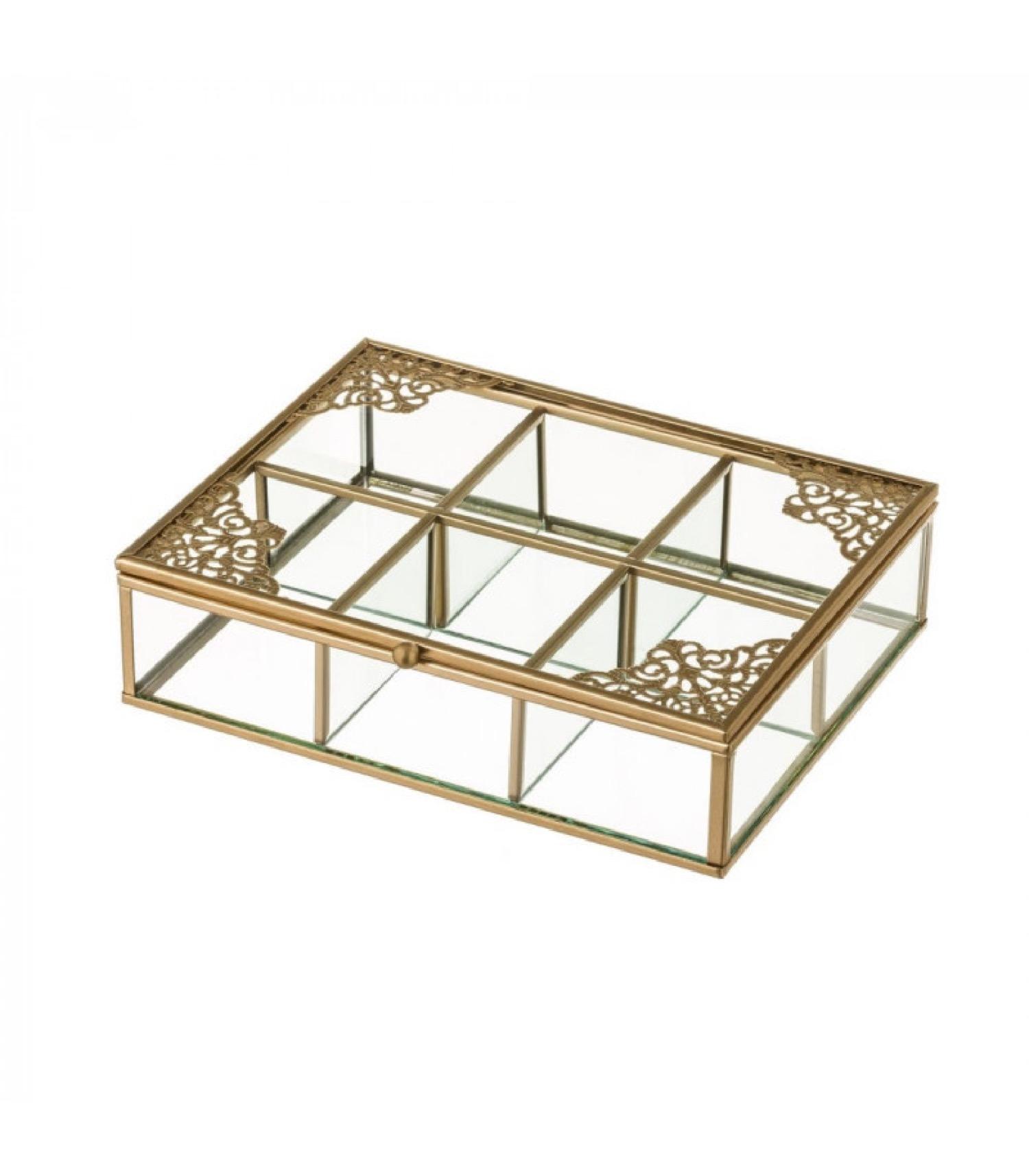 Boîte à bijoux en métal doré et verre 6 compartiments