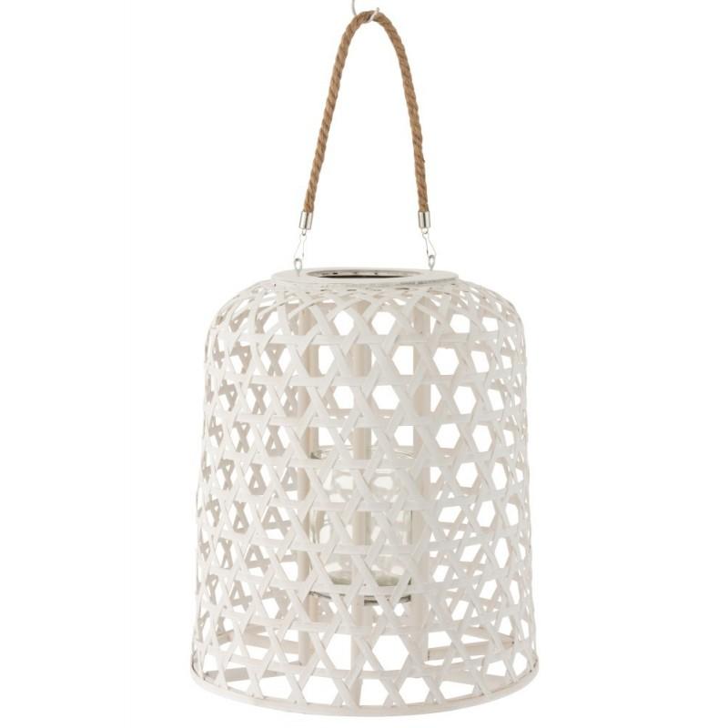Lanterne suspendue bois blanc mat H45,5cm