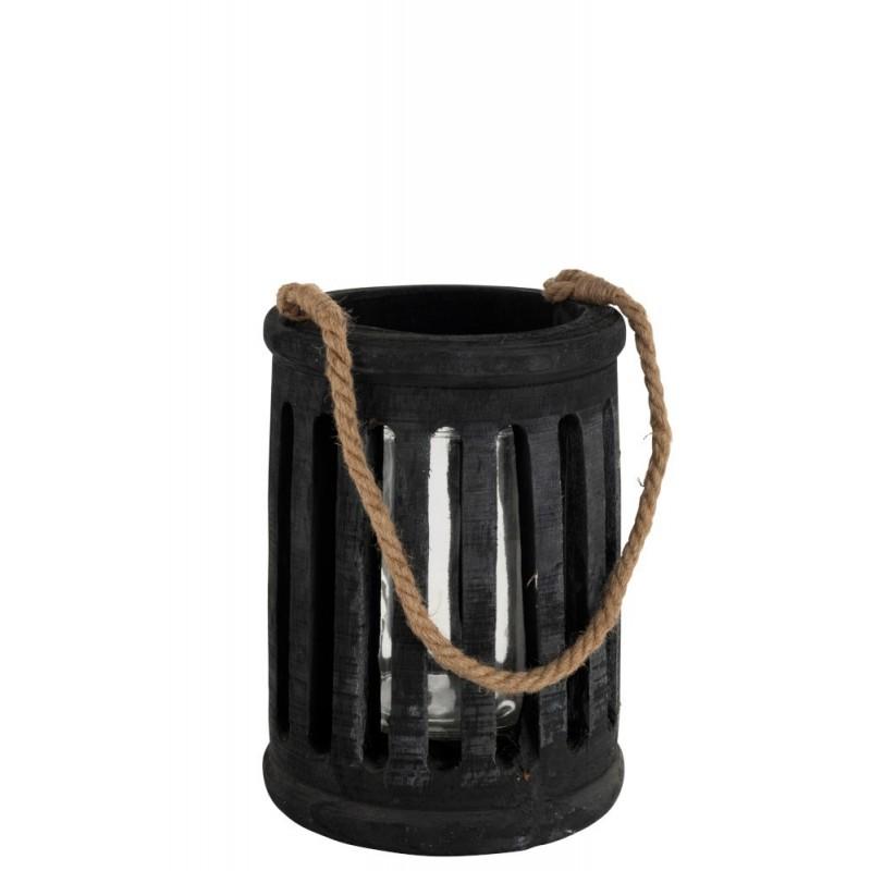 Lanterne cylindrique paulownia/corde noir H69cm