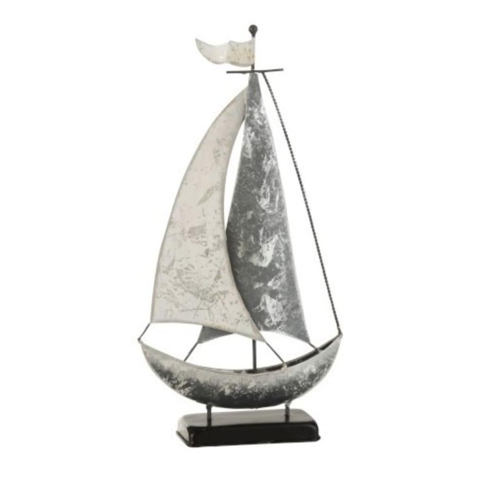 Décoration sur pied voilier métal blanc/gris H46cm