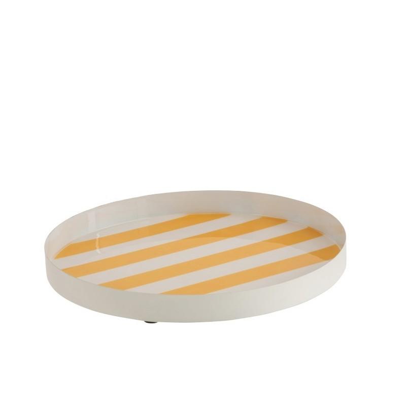 Plateau métal laque blanc/jaune D30,5cm