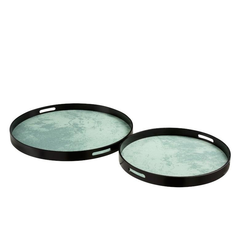 Plateaux mdf/verre noir/vert d'eau D59,5cm - Lot de 2
