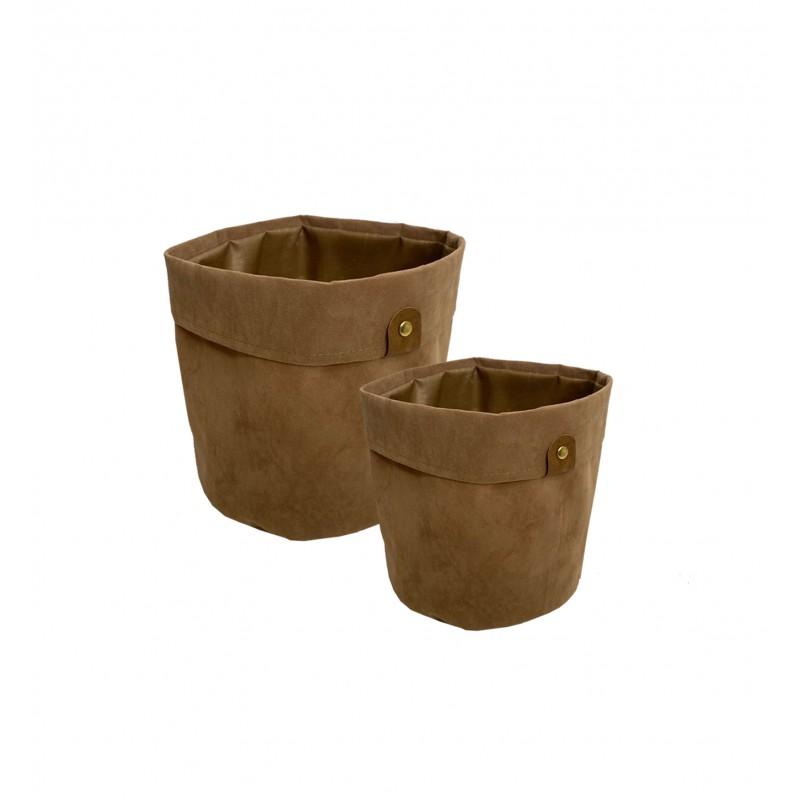 2 Cache-pots panier pour plante tissu camel effet velours D20/D23cm